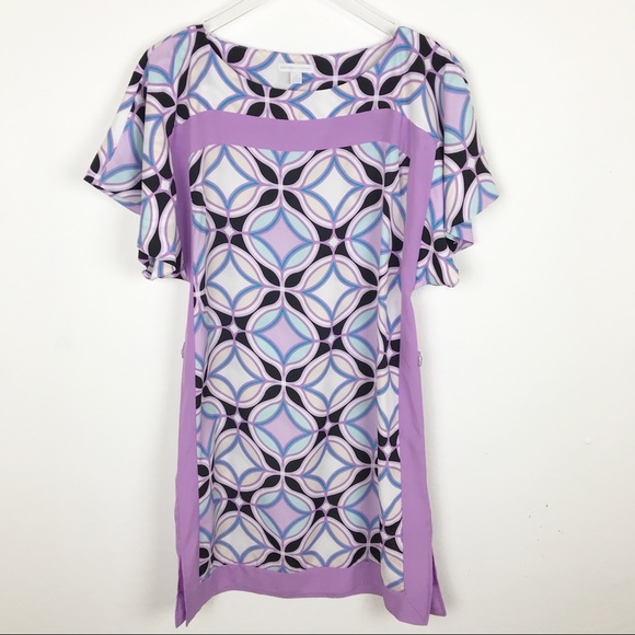 dd541f77b4 New York   Company Purple Geometric Print Dress M.  M 5b6ddf7dc9bf5065b7883651